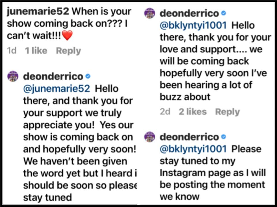 Doubling Down With The Deriricos - Intsagram Comments - Deon Derrico