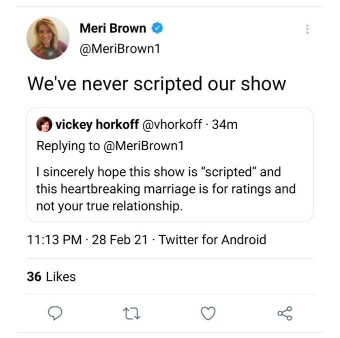 Sister Wives star Meri Brown denies the show is scripted [Image @MeriBrown1/Twitter