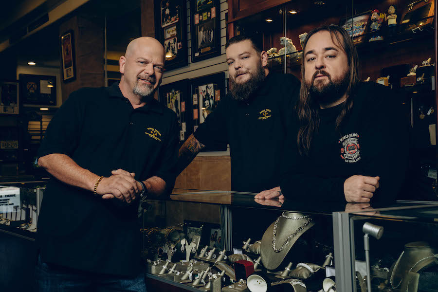 """Pawn Stars L to R: Rick Harrison, Corey Harrison and Chumlee Russell from HISTORY's """"Pawn Stars."""" Photo by Clarke Tolton Copyright 2021"""