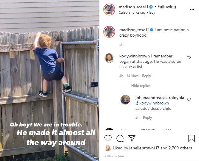 Kody Brown rare comment maddie Instagram
