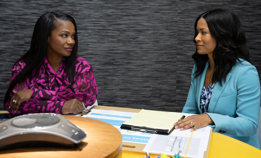 Envy: A Seven Deadly Sins Story (L to R) Kandi Burruss & Rose Rollins star in Envy: A Seven Deadly Sins Story. Photo by Courtesy of Lifetime Copyright 2020