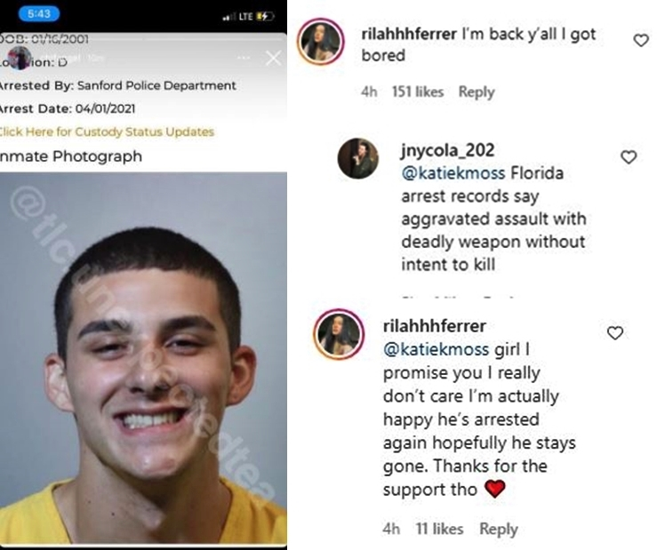 Unexpected Rilah Returns To Instagram - Hopes Anthony Stays Jailed