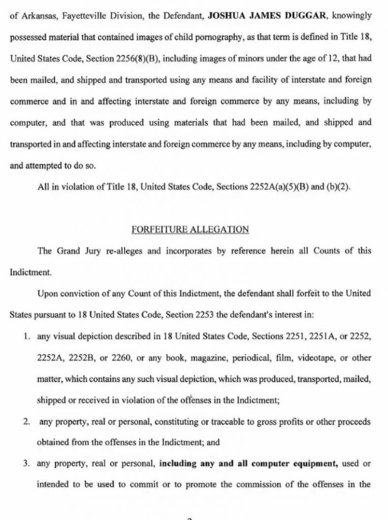Josh Duggar's Indictment, Page 2