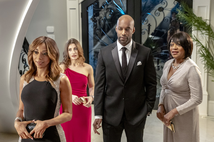 Hallmark, Morning Show Mysteries Murder Ever After, Photo: Holly Robinson Peete, Francesca Bianchi, Colin Lawrence, Karen Robinson Credit: ©2021 Crown Media United States LLC/Photographer:Allister Foster
