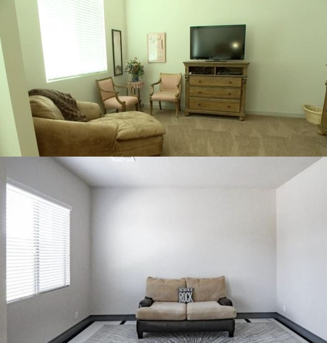 Sister Wives Meri Brown Home Sitting Room before and After