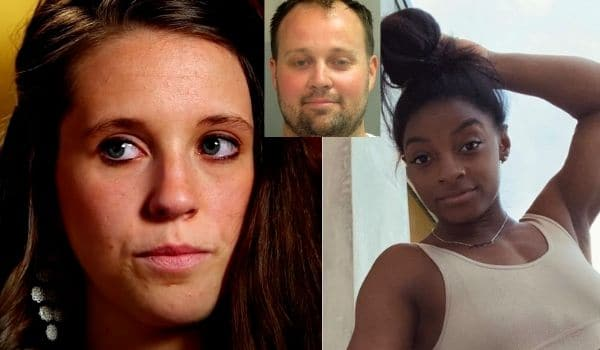 Jill Dillard (TLC), Josh Duggar mugshot, Simone Biles Instagram