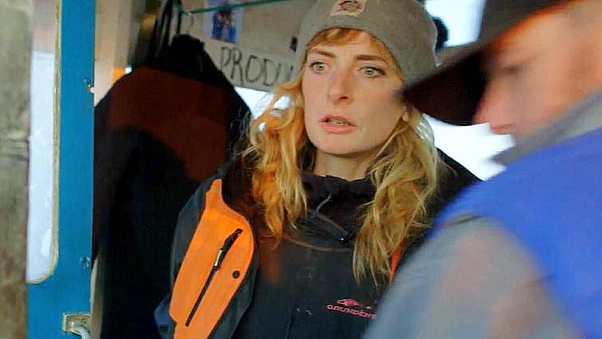 Emily surveys boat