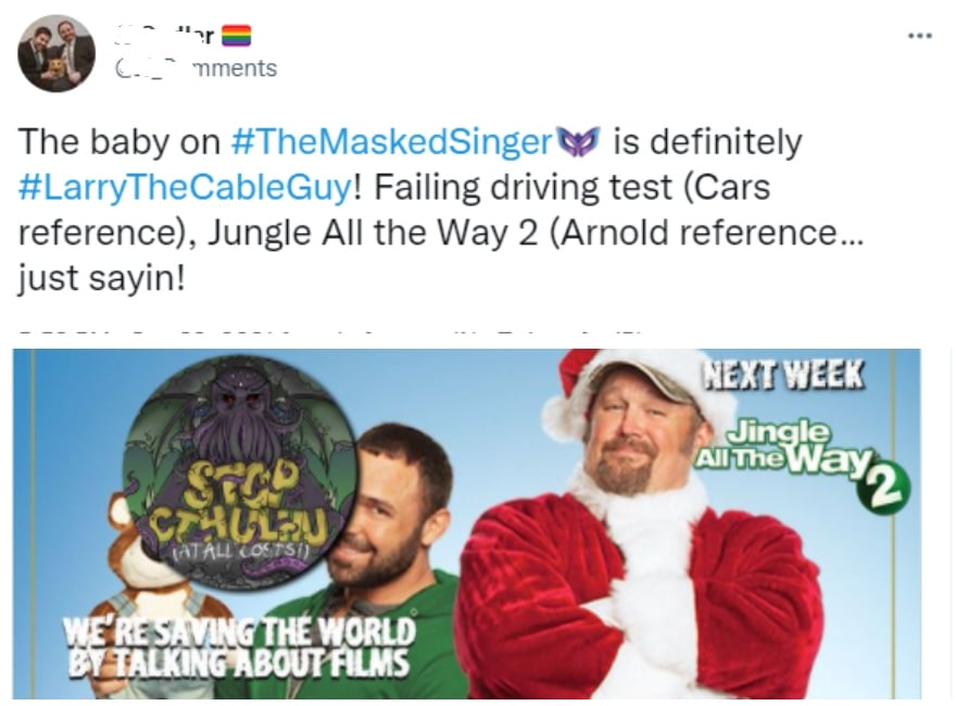 Larry The Cable Guy - The Masked Singer - Tweet