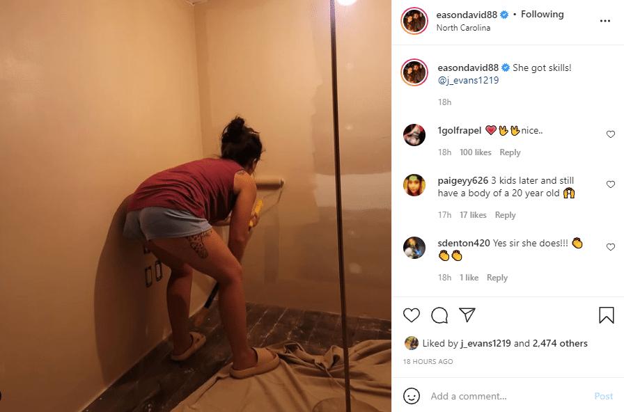 Jenelle Evans paints building Instagram post